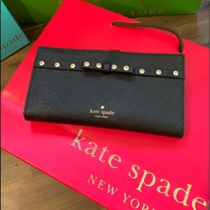 NWT Stacy sparkling black with bow wallet